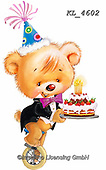 Interlitho-Fabrizio, Comics, CUTE ANIMALS, LUSTIGE TIERE, ANIMALITOS DIVERTIDOS, paintings+++++,bear, cake,KL4602,#ac#, EVERYDAY ,sticker,stickers ,party