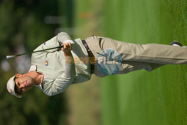 Straffin Co Kildare Ireland. K Club Ruder Cup...European Ryder Cup team member Padraig Harrington plays his 2nd shot on the 15th fairway on the opening fourball session on the first day of the 2006 Ryder Cup, at the K Club in Straffan, Co Kildare, in the Republic of Ireland, 22 September 2006..Photo: Eoin Clarke/ Newsfile.<br />