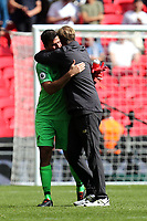 Liverpool manager Jurgen Klopp and Alisson Becker of Liverpool after Tottenham Hotspur vs Liverpool, Premier League Football at Wembley Stadium on 15th September 2018