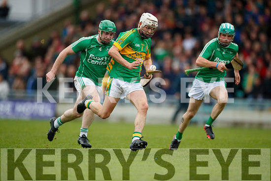 Cathal Kearney Ballyduff in action against Ricky Heffernan Lixnaw in the Senior County Hurling Final in Austin Stack Park on Sunday