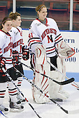Brittany Esposito (NU - 7), Annie Hogan (NU - 3), Florence Schelling (NU - 41) - The University of Connecticut Huskies defeated the Northeastern University Huskies 4-1 in Hockey East quarterfinal play on Saturday, February 27, 2010, at Matthews Arena in Boston, Massachusetts.