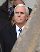 United States Vice President Mike Pence looks on as US President Donald J. Trump announces a bipartisan agreement to reopen the federal government for a three week period in the Rose Garden of the White House in Washington, DC on January 25, 2019.  The President expressed his hope that Congressional leaders would come together to pass legislation that will result in border security.<br /> Credit: Ron Sachs / CNP