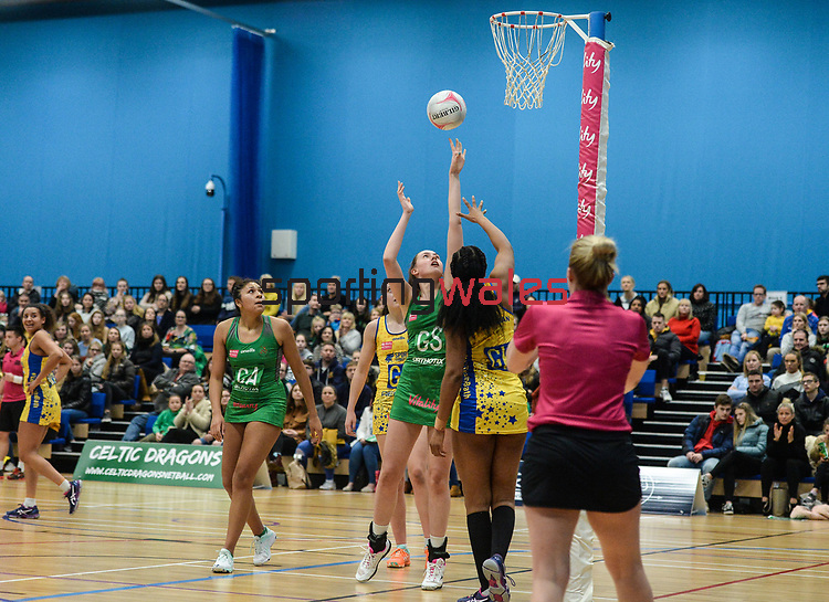 Celtic Dragons v Team Bath - Netball - Saturday 29th February 2020 -  Cardiff Archers Arena  - Cardiff <br /> <br /> © www.sportingwales.com- PLEASE CREDIT IAN COOK