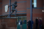 The statue in honour of home club legend Tony Brown outside the stadium, pictured before West Bromwich Albion take on Leeds United in a SkyBet Championship fixture at the Hawthorns. Formed in 1878, the home team were relegated from the English Premier League the previous season and were aiming to close the gap on the visitors at the top of the table. Albion won the match 4-1 watched by a near-capacity crowd of 25,661.