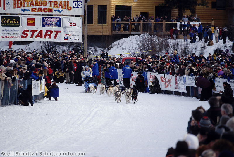 Dee Dee Jonrowe Leaving Start Line Iditarod AK Fairbanks