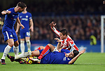 Ibrahim Afellay of Stoke City is challenged by Alvaro Morata of Chelsea during the premier league match at Stamford Bridge Stadium, London. Picture date 30th December 2017. Picture credit should read: Robin Parker/Sportimage