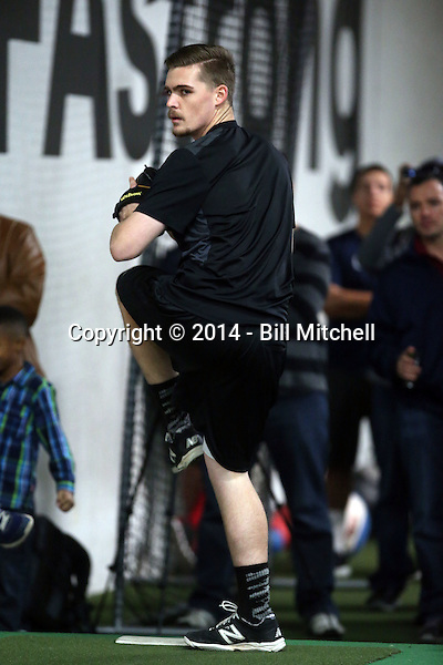Josh Staumont participates in the a showcase for scouts at the PFA training facility in Upland, California on December 26, 2014 (Bill Mitchell)