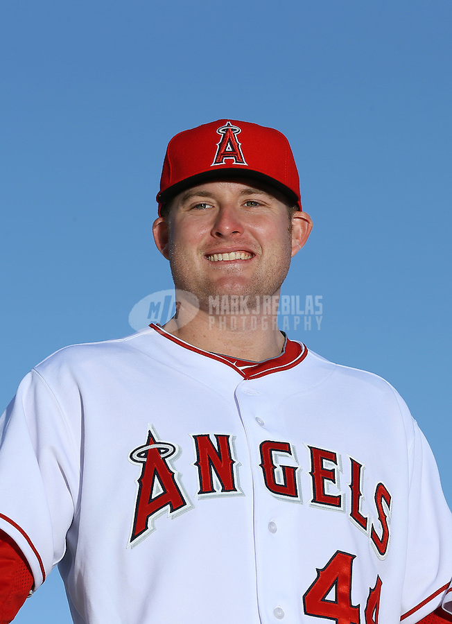 Feb. 21, 2113; Tempe, AZ, USA: Los Angeles Angels infielder Mark Trumbo poses for a portrait during photo day at Tempe Diablo Stadium. Mandatory Credit: Mark J. Rebilas-