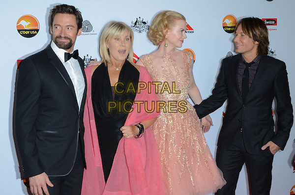 Hugh Jackman, Deborra-Lee Furness, Nicole Kidman, Keith Urban.at The G'Day USA Black Tie Gala held at The JW Marriot at LA Live in Los Angeles, California, January 12th 2013..half length beard facial hair goatee white shirt black suit tie bow tuxedo tux dress pink shawl husband wife couple peach beige nude tulle grey gray beaded .CAP/ADM/TW.©Tonya Wise/AdMedia/Capital Pictures.