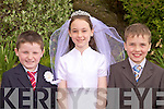 Pupils from Loughfouder National School who received their First Holy Communion last Saturday in Knocknagashel, l-r: Matthew Keane, Roisin Brosnan and Diarmuid Shine.