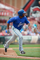 Hartford Yard Goats designated hitter Correlle Prime (22) runs to first base during a game against the Erie SeaWolves on August 6, 2017 at UPMC Park in Erie, Pennsylvania.  Erie defeated Hartford 9-5.  (Mike Janes/Four Seam Images)
