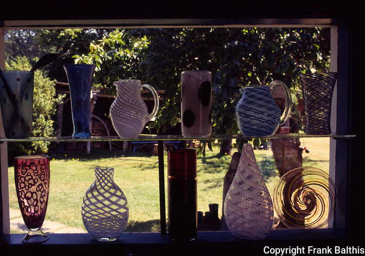 Glass artwork in window on Orcas island