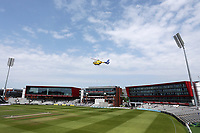 The air ambulance takes off after attending a medical emergency during Lancashire CCC vs Essex CCC, Specsavers County Championship Division 1 Cricket at Emirates Old Trafford on 11th June 2018