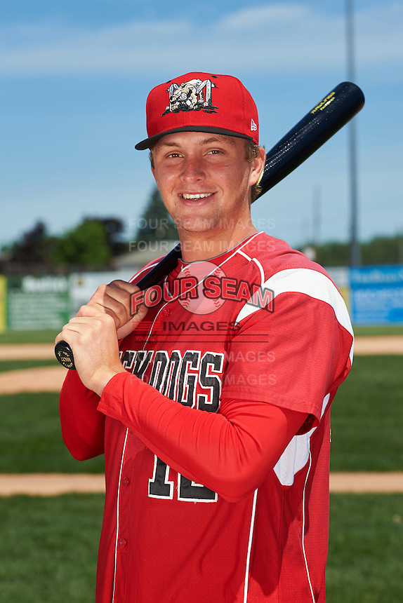 Batavia Muckdogs catcher Blake Anderson (12) poses for a photo before the teams first practice on June 15, 2016 at Dwyer Stadium in Batavia, New York.  (Mike Janes/Four Seam Images)