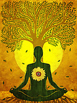 Illustration of man meditating against tree and sun