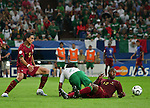 21 June 2006: Miguel (POR) (13) fouls Luis Perez (MEX) (23) in the penalty box in front of Meira Fernando (POR) (5), earning a penalty kick for Mexico. Portugal defeated Mexico 2-1 at Veltins Arena in Gelsenkirchen, Germany in match 31, a Group D first round game, of the 2006 FIFA World Cup.
