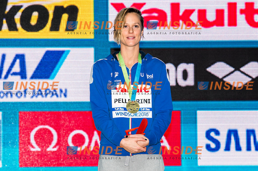 PELLEGRINI Federica ITA Gold Medal<br /> Women's Freestyle 200m<br /> 13th Fina World Swimming Championships 25m <br /> Windsor  Dec. 6th, 2016 - Day01 Finals<br /> WFCU Centre - Windsor Ontario Canada CAN <br /> 20161206 WFCU Centre - Windsor Ontario Canada CAN <br /> Photo &copy; Giorgio Scala/Deepbluemedia/Insidefoto