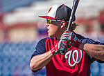 9 March 2014: Washington Nationals outfielder Nate McLouth awaits his turn in the batting cage prior to a Spring Training game against the St. Louis Cardinals at Space Coast Stadium in Viera, Florida. The Nationals defeated the Cardinals 11-1 in Grapefruit League play. Mandatory Credit: Ed Wolfstein Photo *** RAW (NEF) Image File Available ***