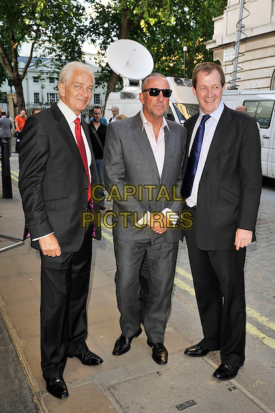 "DAVID GOWER, SIR IAN BOTHAM & ALISTAIR CAMPBELL .The ""From The Ashes"" Special screening, Curzon Mayfair cinema, Curzon St., London, England, UK, .10th May 2011..full length grey gray suit sunglasses white red tie black navy blue .CAP/MAR.© Martin Harris/Capital Pictures."