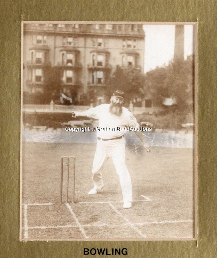 BNPS.co.uk (01202 558833)<br /> Pic: GrahamBuddAuctions/BNPS<br /> <br /> First textbook 'Bowling' - although the 52 year old's action by this time looked a little creaky.<br />  <br /> Rare photographs capturing legendary cricketer W.G. Grace demonstrating perfect batting technique for the sport's first picture instruction manual have emerged more than a century after they were taken. <br /> <br /> The collection of images, which are believed to be the first ever of live-action cricket, were snapped between 1901 and 1904 for the book 'Great Batsmen: Their Methods at a Glance'.<br /> <br /> They show a middle-aged Grace, who played first-class cricket for a record 44 seasons and is widely considered to have been England's greatest player, expertly striking a series of shots that even Geoffrey Boycott would find it difficult to fault. <br /> <br /> And after being acquired by a private collector they are set to go under the hammer in London next month with a £7,000 estimate.