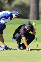 Patrick Reed (USA) and caddy lines up his putt on the 2nd green at Monterey Peninsula CC during Saturday's Round 3 of the 2018 AT&amp;T Pebble Beach Pro-Am, held over 3 courses Pebble Beach, Spyglass Hill and Monterey, California, USA. 10th February 2018.<br /> Picture: Eoin Clarke | Golffile<br /> <br /> <br /> All photos usage must carry mandatory copyright credit (&copy; Golffile | Eoin Clarke)
