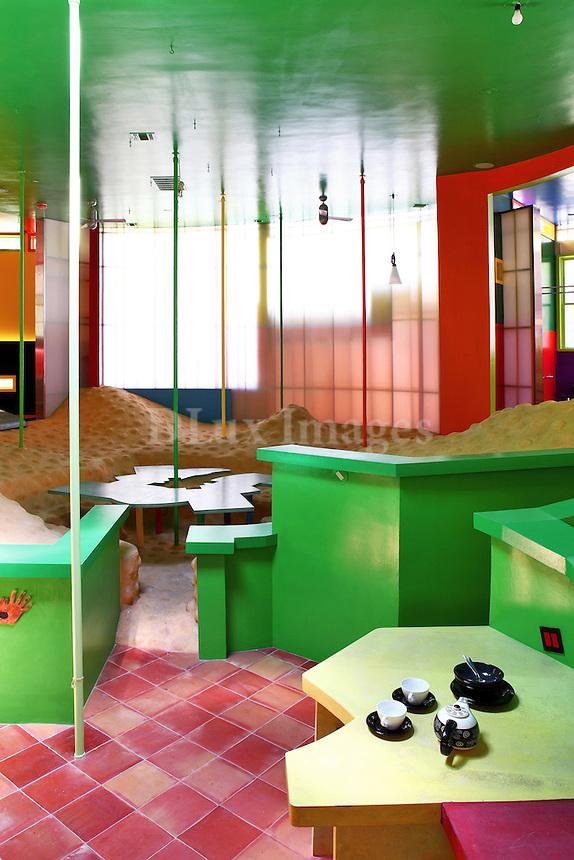 modern colorful open plan kitchen