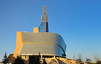 Canadian Museum for Human Rights (CMHR) and 'The Cloud' fascade with 'Tower of Hope'<br /> Winnipeg<br /> Manitoba<br /> Canada