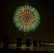 The annual Kuwana City summer fireworks show on the Ibi River (Ibinagawa) and dam, which also was a commemoration of 53 years since a major typhoon took many lives in the area; 53 years a significant number in Japanese culture.