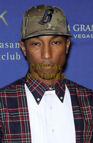 Pharrell Williams.At Hakkasan Las Vegas  and GQ Magazine present an all-star red carpet affair to celebrate the nightclub's Grand Opening at MGM Grand Hotel & Casino, Las Vegas, NV, USA, 27th April 2013..portrait headshot red white cap hat red tartan blue checked .CAP/ADM/MJT.© MJT/AdMedia/Capital Pictures