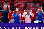 (L to R) <br />  Takehiro Watanabe, <br /> Misaki Morizono, <br /> Miyu Kato, <br /> Miyu Maeda (JPN), <br /> AUGUST 27, 2018 - Table Tennis : <br /> Women's Team Quarter-final <br /> between Japan 0-3 China <br /> at JIExpo Kemayoran Hall B <br /> during the 2018 Jakarta Palembang Asian Games <br /> in Jakarta, Indonesia. <br /> (Photo by Naoki Morita/AFLO SPORT)