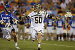 29 April 2016: Notre Dame's Matt Kavanagh (50) and Duke's John Shaffer (14). The University of Notre Dame Fighting Irish played the Duke University Blue Devils at Fifth Third Bank Stadium in Kennesaw, Georgia in a 2016 Atlantic Coast Conference Men's Lacrosse Tournament semifinal match. Duke won the game 10-9 in overtime.