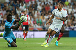 Stade de Reims's Mendy and Real Madrid's Mariano during the XXXVII Bernabeu trophy between Real Madrid and Stade de Reims at the Santiago Bernabeu Stadium. August 15, 2016. (ALTERPHOTOS/Rodrigo Jimenez)