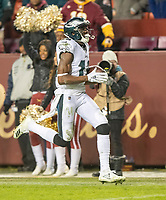 Philadelphia Eagles wide receiver Nelson Agholor (13) carries the ball after making a reception in the fourth quarter against the Washington Redskins at FedEx Field in Landover, Maryland on December 30, 2018.  Agholor scored on the play.  The Eagles won the game 24 - 0 and their victory coupled with the Viking loss allowed them to advance to the NFC playoffs. Photo Credit: Ron Sachs/CNP/AdMedia
