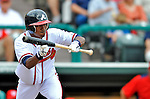 6 March 2012: Atlanta Braves outfielder Luis Durango sets to bunt during a Spring Training game against the Washington Nationals at Champion Park in Disney's Wide World of Sports Complex, Orlando, Florida. The Nationals defeated the Braves 5-2 in Grapefruit League action. Mandatory Credit: Ed Wolfstein Photo