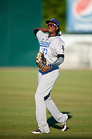 Pensacola Blue Wahoos left fielder Gabriel Guerrero (23) warms up before a game against the Mobile BayBears on April 25, 2017 at Hank Aaron Stadium in Mobile, Alabama.  Mobile defeated Pensacola 3-0.  (Mike Janes/Four Seam Images)