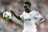 Real Madrid's Michael Essien dejected during Champions League match. September 18, 2012. (ALTERPHOTOS/Alvaro Hernandez). /NortePhoto.com<br />