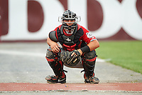Carolina Mudcats catcher Tanner Murphy (15) warms up a pitcher in the bullpen during a game against the Frederick Keys on June 4, 2016 at Nymeo Field at Harry Grove Stadium in Frederick, Maryland.  Frederick defeated Carolina 5-4 in eleven innings.  (Mike Janes/Four Seam Images)