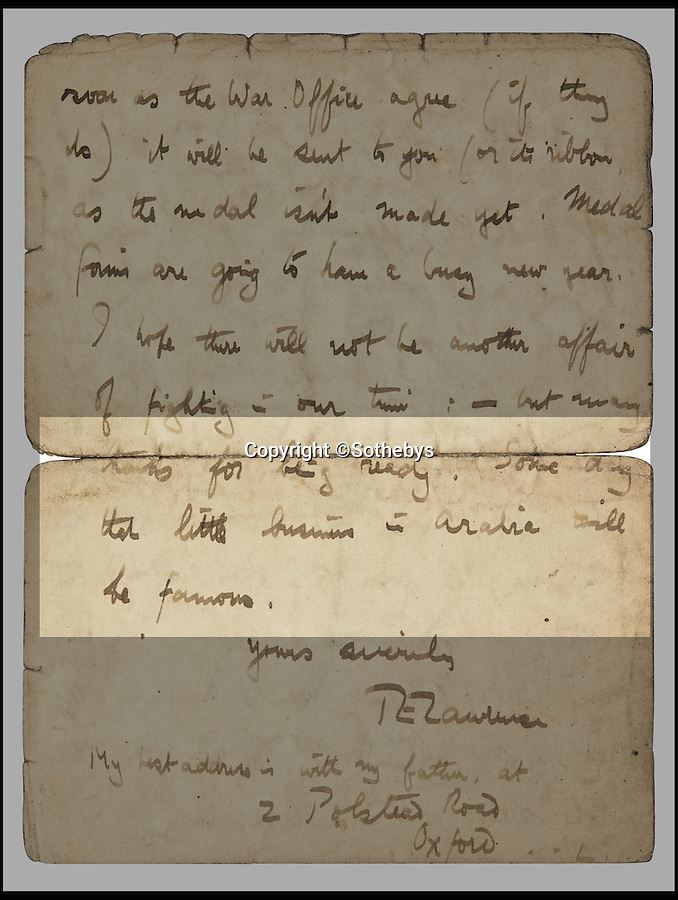 BNPS.co.uk (01202 558833)<br /> Pic: Sothebys/BNPS<br /> <br /> Some day that little business in Arabia will be famous...<br /> <br /> An unseen letter in which war hero TE Lawrence wrote 'some day that little business in Arabia will be famous' has been unearthed almost 100 years later.<br /> <br /> The prophetic letter by the man who became known around the world as Lawrence of Arabia is accompanied by a rare photo of him in Arab<br /> headdress and robes.<br /> <br /> The letter is dated Christmas Day 1918 shortly after his return from Arabia at the end of the First World War and before he became a household name.<br /> <br /> It is being sold tomorrow at Sotheby's for an estimated £15,000.