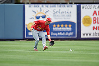 Palm Beach Cardinals center fielder Chase Pinder (4) during a Florida State League game against the Charlotte Stone Crabs on April 14, 2019 at Charlotte Sports Park in Port Charlotte, Florida.  Palm Beach defeated Charlotte 5-3.  (Mike Janes/Four Seam Images)