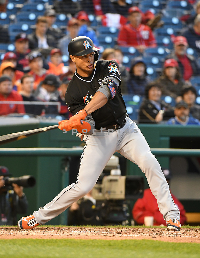 WASHINGTON, DC - April 6, 2017: Giancarlo Stanton #27 of the Miami Marlins during a game against the Washington Nationals on April 6, 2017 at Nationals Park in Washington DC. The Marlins beat the Nationals 4-3.-(Chris Bernacchi/SportPics)
