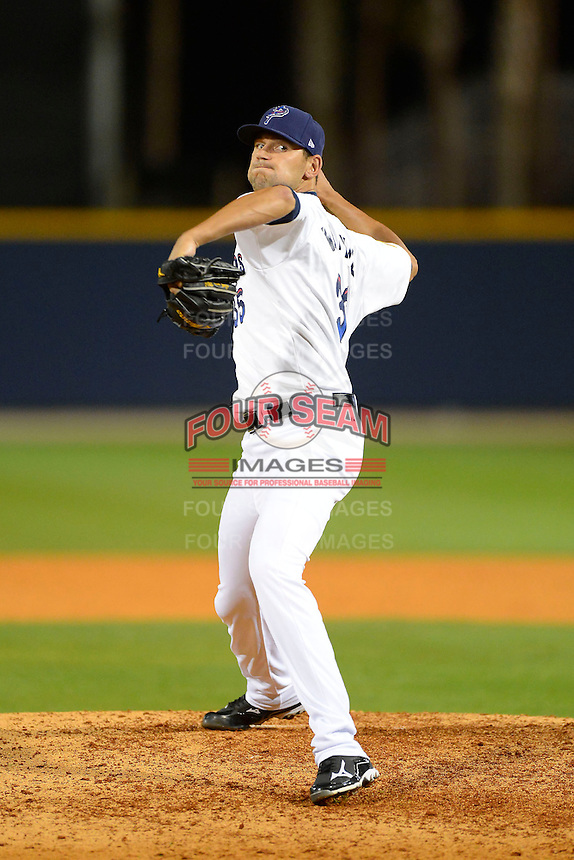 Pensacola Blue Wahoos pitcher Loek Van Mil #35 during a game against the Jacksonville Suns on April 15, 2013 at Pensacola Bayfront Stadium in Pensacola, Florida.  Jacksonville defeated Pensacola 1-0 in 11 innings.  (Mike Janes/Four Seam Images)
