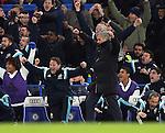 Chelsea's Jose Mourinho celebrates his sides late goal<br /> <br /> Barclays Premier League- Chelsea vs Everton  - Stamford Bridge - England - 11th February 2015 - Picture David Klein/Sportimage