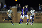 Ryan Inman (4) of the High Point Panthers pushes the ball up the field during first half action against the Wake Forest Demon Deacons at W. Dennie Spry Soccer Stadium on October 9, 2018 in Winston-Salem, North Carolina. The Demon Deacons defeated the Panthers 4-2.  (Brian Westerholt/Sports On Film)