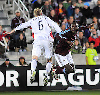 25 October 08: Rapids forward Omar Cummings and Real Salt Lake defender Nat Borchers (6) jump to control a ball. Real Salt Lake tied the Colorado Rapids 1-1 at Dick's Sporting Goods Park in Commerce City, Colorado. The tie advanced Real Salt Lake to the playoffs.