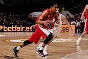 9th February 2018, Wiznik Centre, Madrid, Spain; Euroleague Basketball, Real Madrid versus Olympiacos Piraeus; Brian Roberts (OLYMPIACOS BC) breaks away from the defence of Facundo Campazzo (Real Madrid Baloncesto)