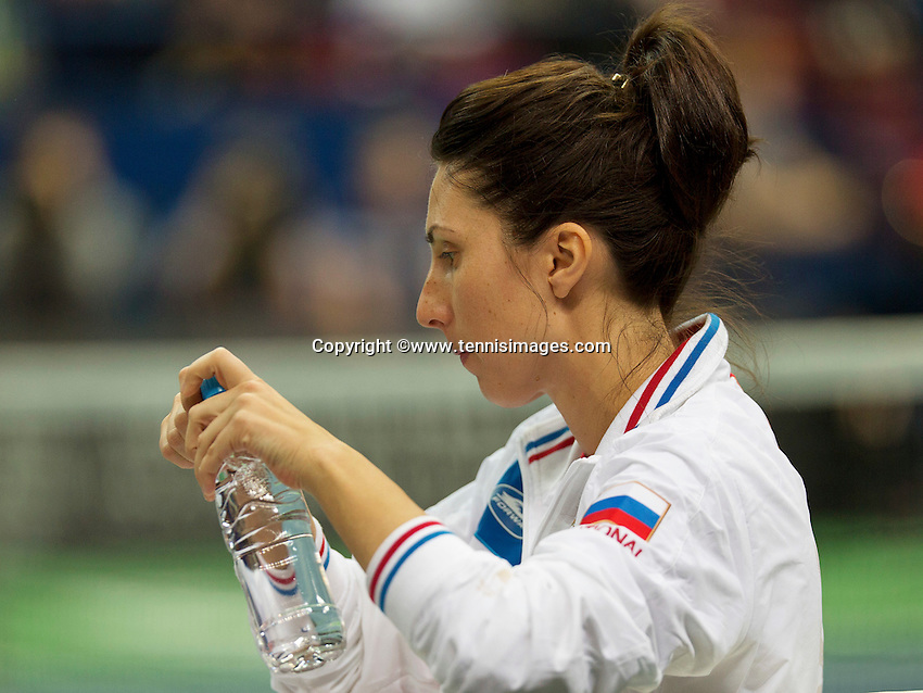 Moskou, Russia, Februari 7, 2016,  Fed Cup Russia-Netherlands, Frustration by Russian captain Myskina<br /> Photo: Tennisimages/Henk Koster