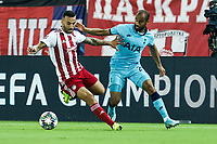 Lucas Moura of Tottenham Hotspur in action with Guilherme of Olympiacos Fc, during the UEFA Champions League match between Olympiacos Fc and Tottenham Hotspur, in Karaiskaki Stadium in Piraeus, Greece. Wednesday 18 September 2019
