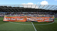 Steel workers from Tata in Port Talbot with a banner before the Barclays Premier League match between Swansea City and Chelsea at the Liberty Stadium, Swansea on April 9th 2016