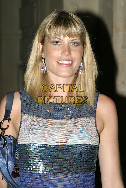MEREDITH OSTROM.Sport Against Addiction & FIFA 100 Party, Royal Academy of Arts, London,1st september 2004..half length blue striped dress.Ref: AH.www.capitalpictures.com.sales@capitalpictures.com.©Capital Pictures.