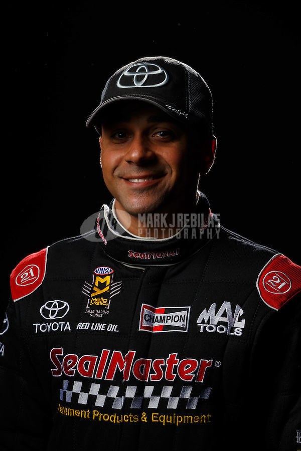 Feb 10, 2016; Pomona, CA, USA; NHRA top fuel driver J.R. Todd poses for a portrait during media day at Auto Club Raceway at Pomona. Mandatory Credit: Mark J. Rebilas-USA TODAY Sports